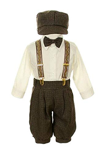 Vintage Dress Suit Bowtie,Suspenders,Knickers Outfit Set-Houndstooth-Brown