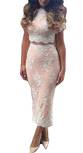 Nude Lace Top (Missord 2015 Nude lining Lace Stitching 2 Piece Dress Large Beige)