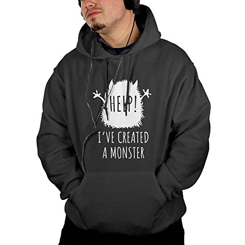 Help! I've Created A Monster Halloween Men's Black Pullover Hooded Sweatshirt With Kangaroo Pocket (Eye Of The Tiger Dance Costume)