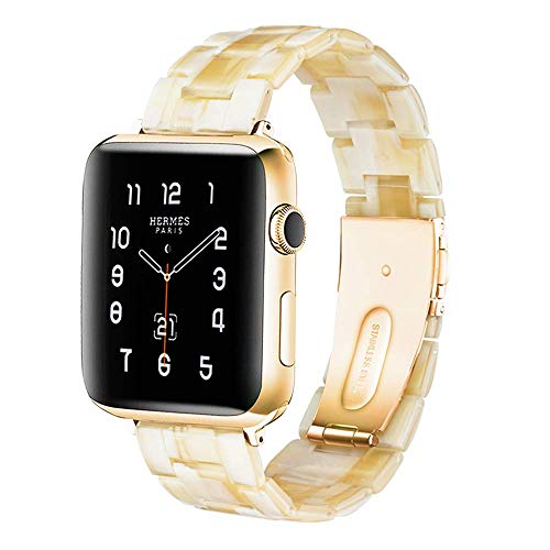 Light Apple Watch Band - Fashion Resin iWatch Band Bracelet Compatible with Copper Stainless Steel Buckle for Apple Watch Series 4 Series 3 Series 2 Series1 (Ivory White, 42mm/44mm)