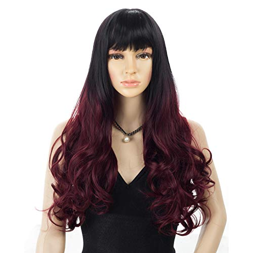 HRClever 22' Long Curly Wavy Wigs, Ombre Burgundy Wigs With Bangs,Two Tone Dark Root to Wine Red Hair Replacement Wigs, Hair Piece Natural as Real,Daily Party Cosplay Costume Wigs (1B/Red)]()