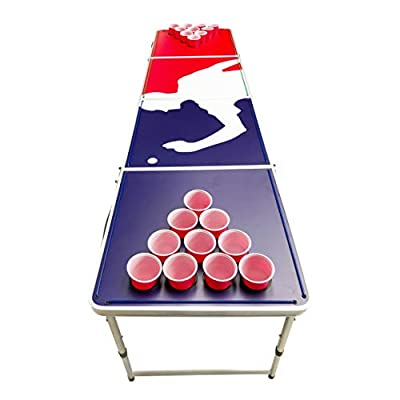 LED Lights Beer Pong Table with Holes for Cups 8' Aluminum Portable Adjustable Folding Indoor Outdoor Tailgate Drinking Party Game Squad Game Play #7: Sports & Outdoors