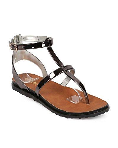 Refresh Women Metallic Ankle Strap Buckle Gladiator Thong Sandal EE08 - Pewter (Size: 9.0) (Sandal Thong Metallic)
