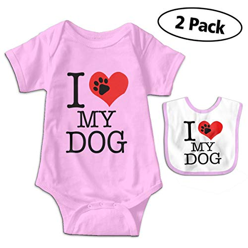 - LMJ-PPF I Love My Dogs Foot Unisex Baby Short Sleeve Bodysuits Onesies Give Baby Bib, Pink 6-12M