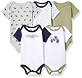 Hudson Baby Unisex Baby Cotton Bodysuits, Dirt Bike 5 Pack, 3-6 Months (6M)