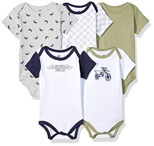 Hudson Baby Unisex Baby Cotton Bodysuits, Dirt Bike 5 Pack, 9-12 Months (12M) ()