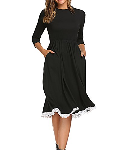 Women's Loose 3 4 Sleeve Midi Below Knee Trapeze Pocket Dress w/Lace Detail