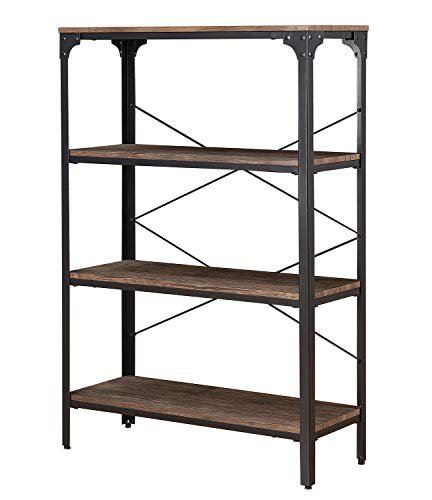O&K FURNITURE 4-Shelf Industrial Open Bookcase, Wood and Metal Vintage Etagere Bookshelf for Living Room, Gray-Brown