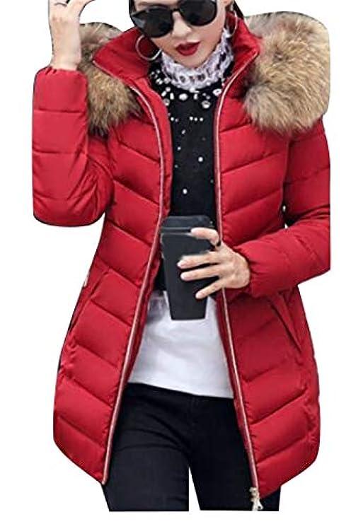Cappotto Con Imbottitura Cappuccio Fur Women Parka Trapuntata Winter Fensajomon Slim Faux YpR4xqwP