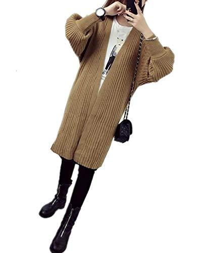 up De Punto Mujeres Informales Battercake Abrigos Otoño Khaki Casuales Abrigo Mujer Tejido Elegante Fit Pin Larga Vintage Unicolor Único Manga Invierno Cardigan Chaqueta Slim z6nz1PqwBx