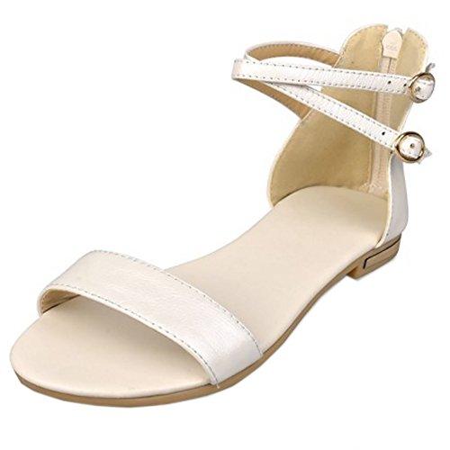 COOLCEPT Damen Mode-Event Knochelriemchen Sandalen Open Toe Flach Schuhe Mit Zipper Beige