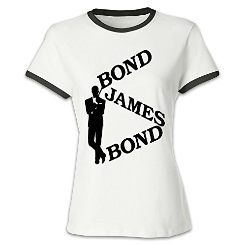 FQZX Women's Bond James Bond Baseball T Shirt X-Large Black