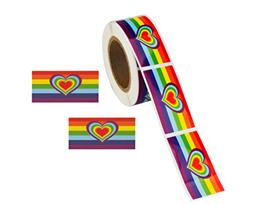 Gay Pride - Rainbow Stripe Flag Heart Stickers (1 Roll - 250 Stickers) ()