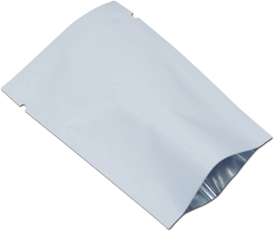 200 Pieces Aluminum Foil Smell Proof Pouch Heat Seal Open Top Flat Vacuum Packaging Mylar Bag Food Small Sample Mini Mylar Storage with Tear Notch (White, 5x7cm(1.9x2.7 inch))