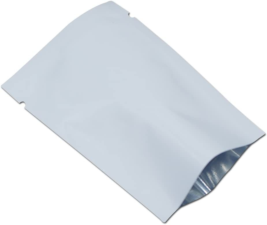 1000 Pack White Metallic Mylar Foil Open Top Sealable Bags 6x9cm (2.4x3.5 inch) Vacuum Heat Seal Pouches for Food Storage Packaging with Tear Notches