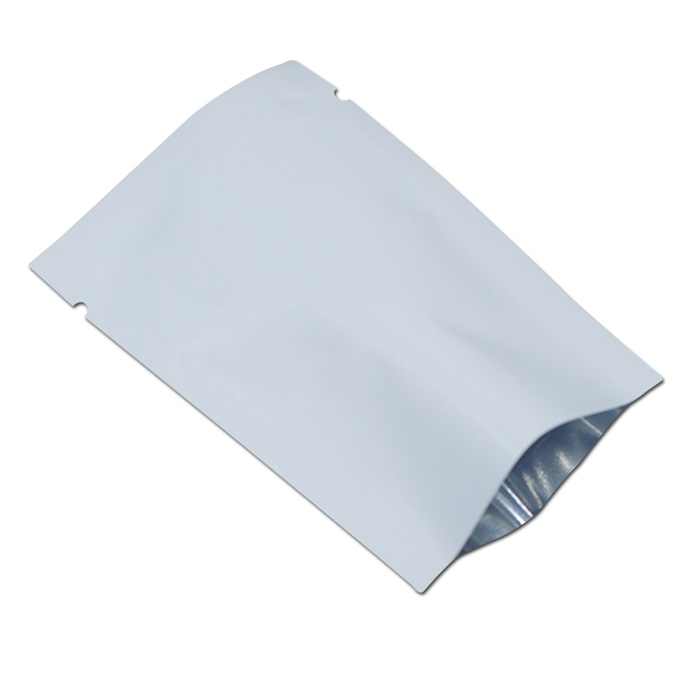 2.8x3.9 inches Aluminum Foil Smell Proof Pouch Heat Seal Open Top Flat Mylar Bags Food Storage Packaging Vacuum Coffee Candy Tea Foil Pouch with Tear Notch (White, 200)