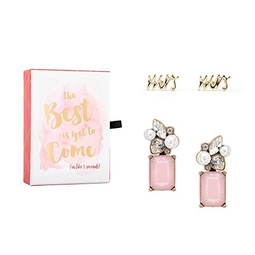 Bridal Jewelry Gift Set Featuring Mrs Studs and Convertible Floral Earrings in Quote Gift Box (Pink Earrings in