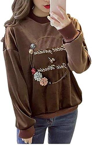 女性スウェットシャツ 秋ベルベットラウンドネック ロングスリーブ プルオーバー スウェットシャツ 1 US Small