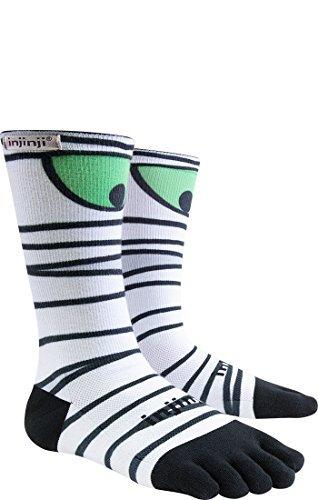 Injinji Men's Run Lightweight Crew Socks Haloween Mummy (The Haloween)