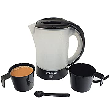 Voche® 650W Gloss Black Travel Kettle with 2 Cups & Spoon