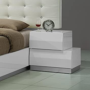 Amazon.com: Matt 2 Drawer Bedroom Nightstand Made w/ Wood in White ...