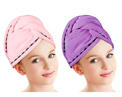Luxspire 2 Pack Microfiber Hair Drying Towels, Fast Drying Hair Cap, Long Hair Wrap Turban, Bath Shower Head Towel with Buttons, Super Water-absorbent, Pink & Purple by Luxspire