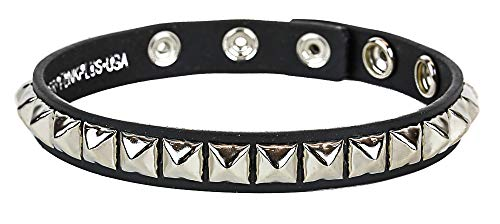 Leather Studded Armband Fetish Rock Queen Mercury 3 Snap Gear]()