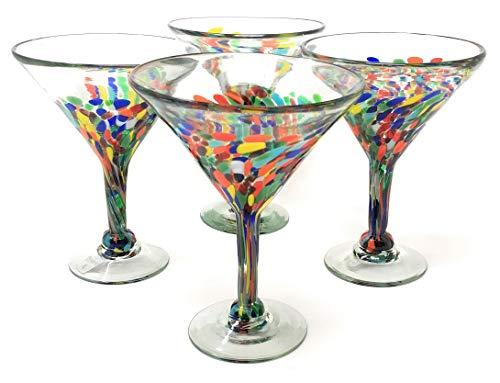 Mexican Hand Blown Glass – Set of 4 Hand Blown Modern Margarita Glasses – Confetti Carmen (12 oz)