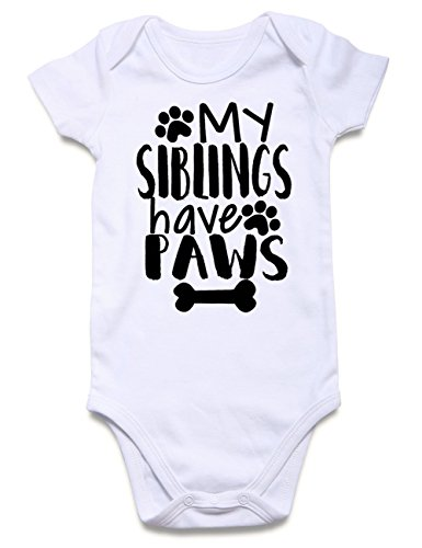 Funnycokid Baby One-Piece Underwear My Sibling Have Paws Little Kids' Bodysuits