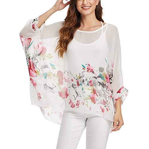 (Wiwish Women's Bohemian Style Summer Beach Lagenlook Top Kimono Loose Waterfall Chiffon Kaftan Poncho Shirt (N-Watercolor) )