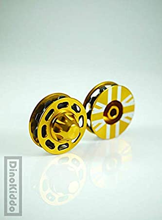 Dino Kiddo - Poleas de Aluminio para Bicicleta Plegable Brompton, Color Dorado