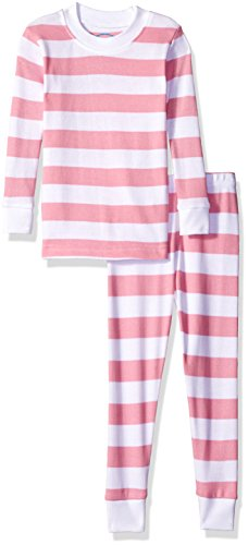 (Sara's Prints Baby Girls Unisex Kids All Cotton Long John Pajamas, Pink/White Stripe, 24M)