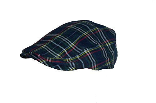 Hawkins Men's Scottish Tartan Flat Cap in 2 Colours & Sizes (Large/XLarge, Navy) -