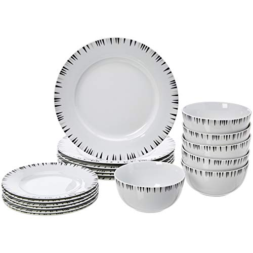AmazonBasics 18-Piece Kitchen Dinnerware Set, Plates, Dishes, Bowls, Service for 6, Bungalow (Gray Dish Sets)