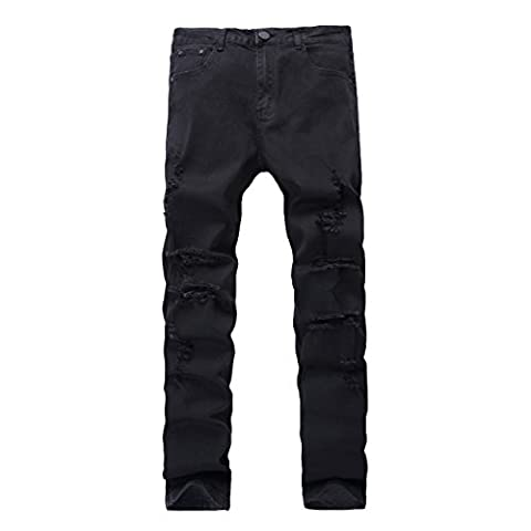 Men's Slim Fit Destroyed Knee Ripped Hole Skinny Denim Jeans,Black,36 - Co Black Denim