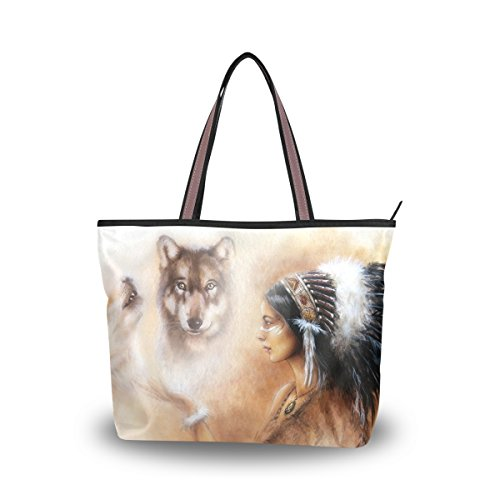 JSTEL Women Large Tote Top Handle Shoulder Bags Indian Woman Wolf Patern Ladies Handbag