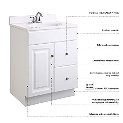 Design House 531970 18-Inch by 16.25-Inch Claremont Ready-To-Assemble 1 Door Vanity, Honey Oak - Clean lines and Concealed hinges Features a Honey Oak finish with Antique brass hardware; vanity top and faucet sold separately Frameless design provides ample storage and accessibility to store toiletries for the entire family - bathroom-vanities, bathroom-fixtures-hardware, bathroom - 41Z8qLczKXL. SS400  -