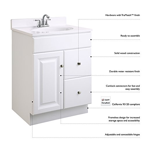 Design House 545053 Wyndham White Semi-Gloss Vanity Cabinet with 1-Door and 2-Drawers, 24-Inches Wide by 31.5-Inches Tall by 21-Inches Deep