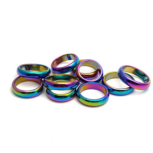 Morchic Rainbow Hematite Band Rings for Women Men 6mm Width (Pack of 10 Pcs Mixed Size)