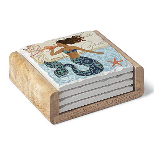 Frame Jack Russell - Highland Home Absorbent Stoneware Coaster - Mermaid with Shell 4 Pack