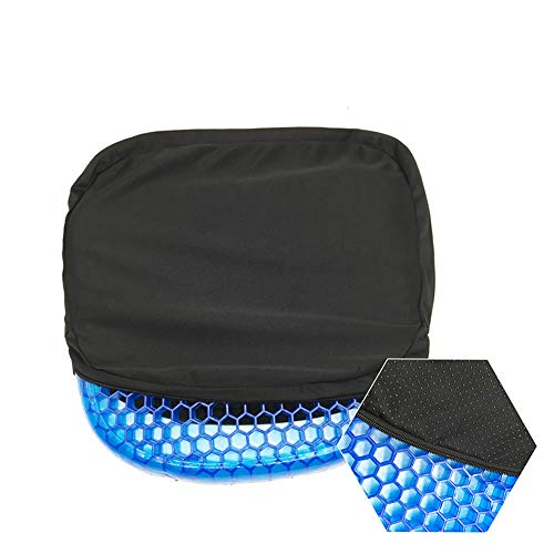 Gel Seat Cushion Super Ventilation Cool Breathable Honeycomb Design Cushion Body Pressure Dispersion Back Pain Relief Healthy Cushion Posture Correction Belt Back Cushion for Office Wheelchair (A Design Cushions)