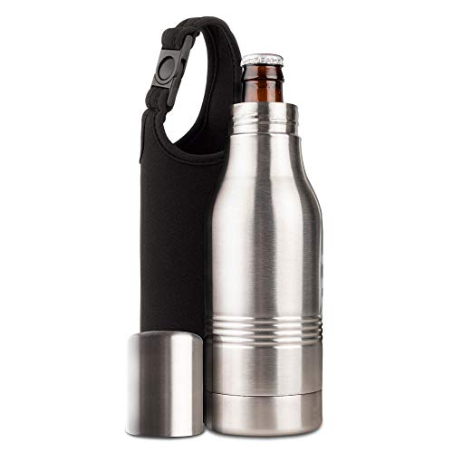 Strova Beer Bottle Insulator | Stainless-Steel Metal Insulated Holder w/Double-Walled Insulation | Keep Drinks Colder, Longer | Reusable Cover | Outdoor, Camping, BBQ, Fishing | Includes Carry Bag ()