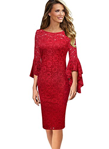 Party Wear Dresses - VfEmage Womens Elegant Bell Sleeve Wear to Work Party Cocktail Sheath Dress 9288 RED 16