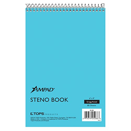 Ampad Steno Book, 6'' x 9'', Gregg Rule, Blue Paper and Cover, 80 Sheets, 12 Pack (25-286) by Ampad