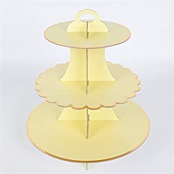 "Hanlanbo 3-Tier Pink Blue Yellow Round Cardboard Cupcake Stand Dessert (12""W x 12.8""H) Birthday Wedding Special Event Decoration (Reusable) (Yellow)"