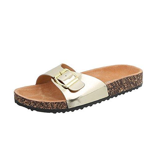 Ital-Design Zapatos Para Mujer Sandalias de Vestir Plano Zuecos Gold KU-6