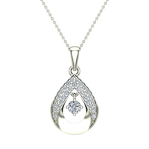 Glitz Design 18K White Gold Necklace Dainty Diamond Studded Tear Drop Style 0.27 Carat Total Weight 18