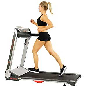 Sunny Health & Fitness Electric Slim Folding Running Treadmill with Wide Belt, Tablet Holder, Speakers, 250 LB Max Weight, No Assembly – Strider, SF-T7718,Black