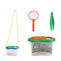 Fenfangxilas Insect Viewer Box, Bug Magnifier with Tweezers Net Exploration Tool Education Toy Set