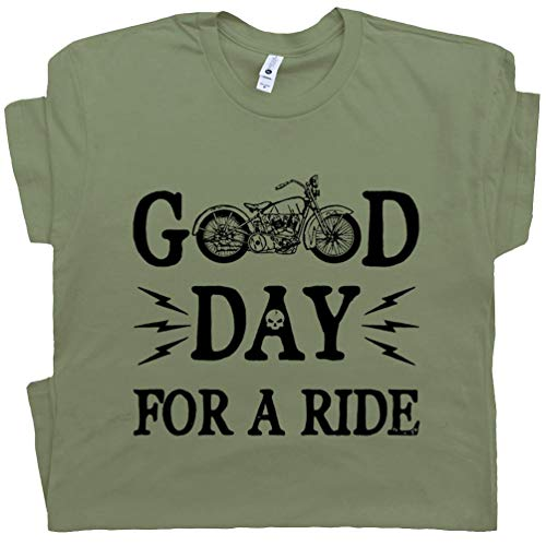 Goldwing Apparel Motorcycle - L - Motorcycle T Shirts Good Day for A Ride Cool Vintage Tee Route 66 Indian Saying Gift for Biker Mens Womens Army Green